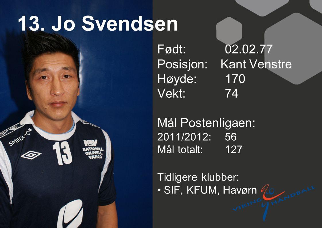 13. Jo Svendsen Født: 02.02.77 Posisjon: Kant Venstre Høyde: 170