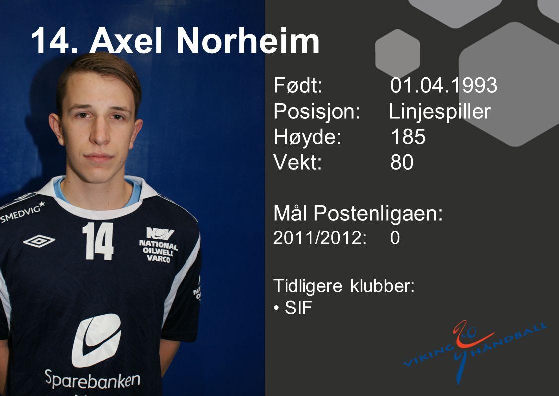 14. Axel Norheim Født: 01.04.1993 Posisjon: Linjespiller Høyde: 185
