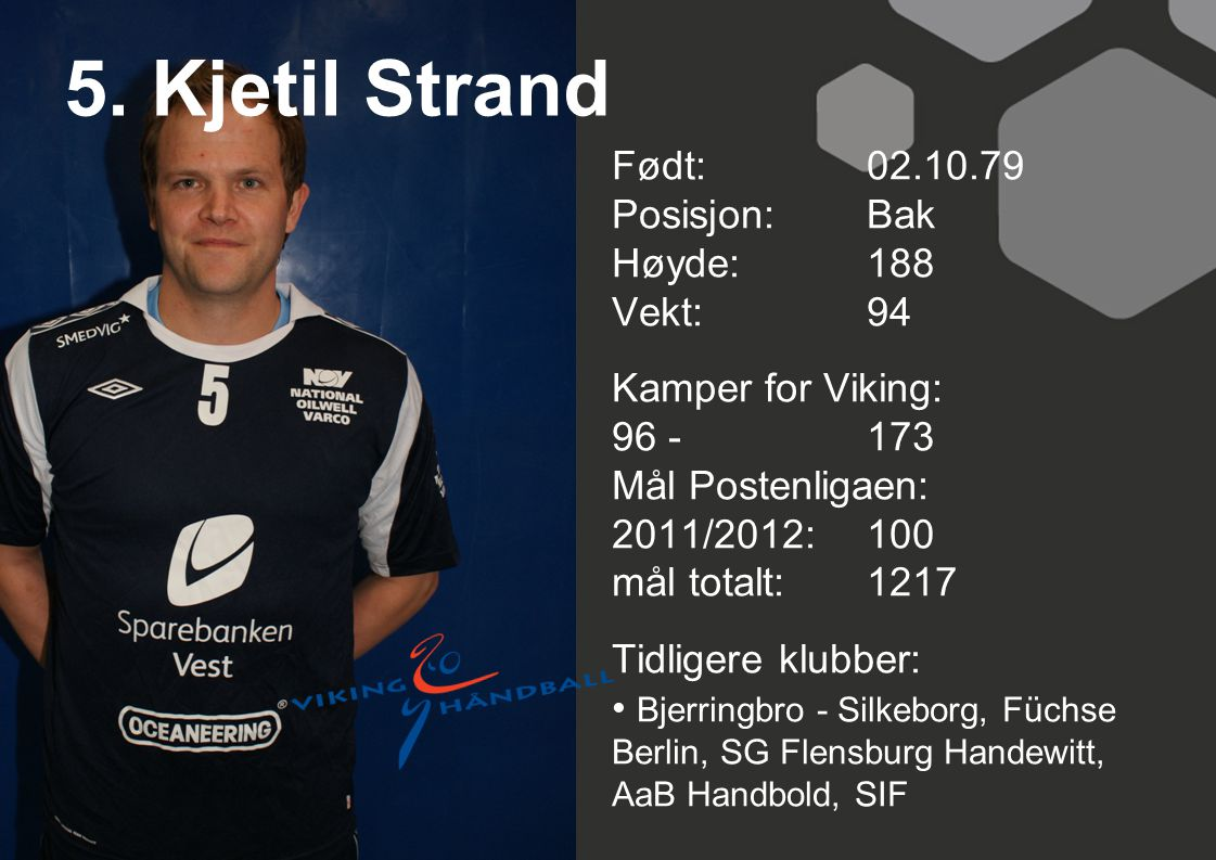 5. Kjetil Strand Født: 02.10.79 Posisjon: Bak Høyde: 188 Vekt: 94