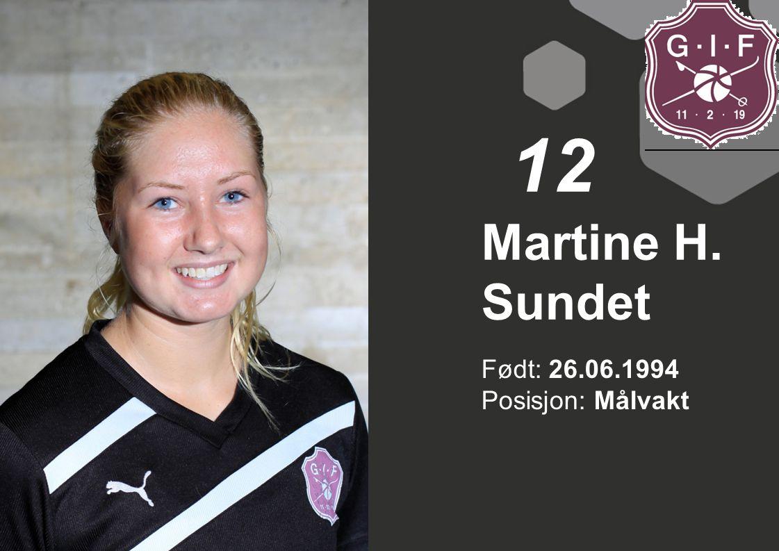 12 Martine H. Sundet Født: 26.06.1994 Posisjon: Målvakt