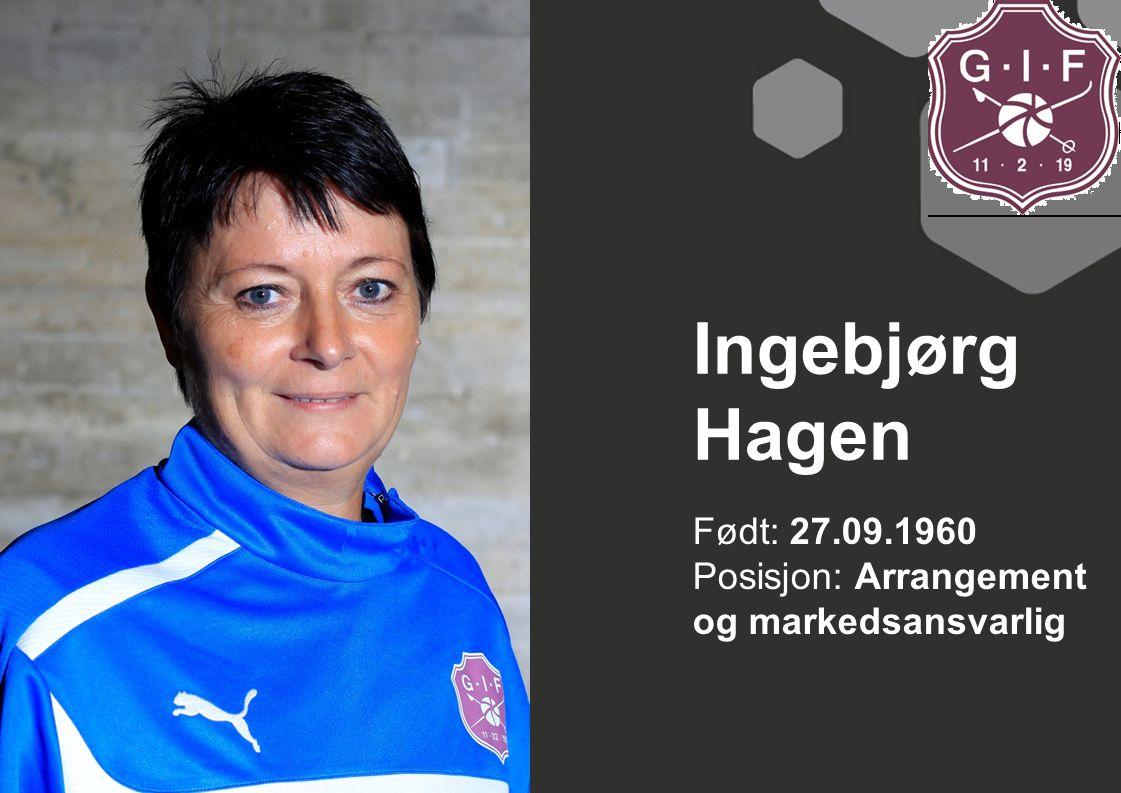 Ingebjørg Hagen Født: 27.09.1960 Posisjon: Arrangement og markedsansvarlig