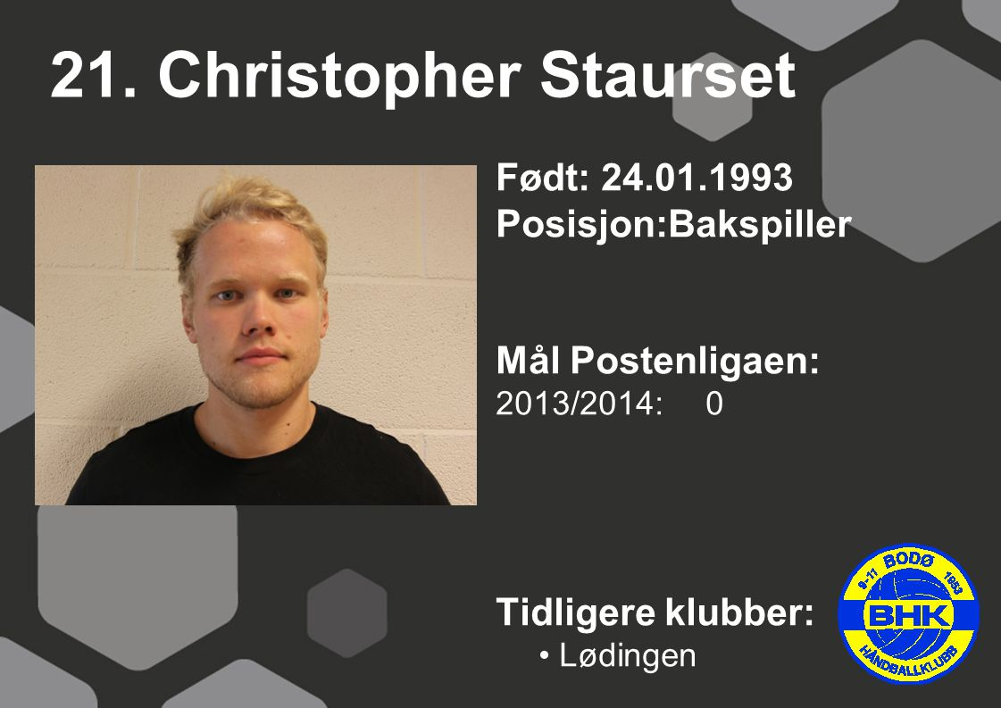 21. Christopher Staurset Født: 24.01.1993 Posisjon:Bakspiller