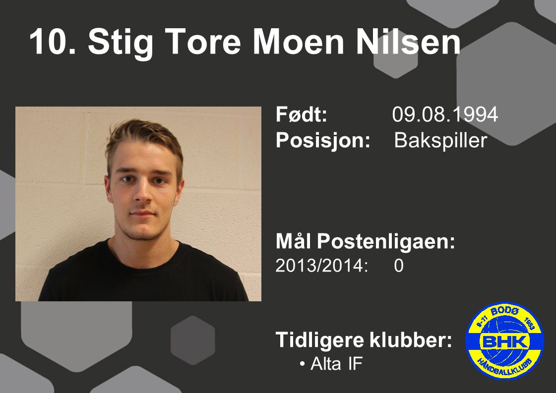 10. Stig Tore Moen Nilsen Født: 09.08.1994 Posisjon: Bakspiller