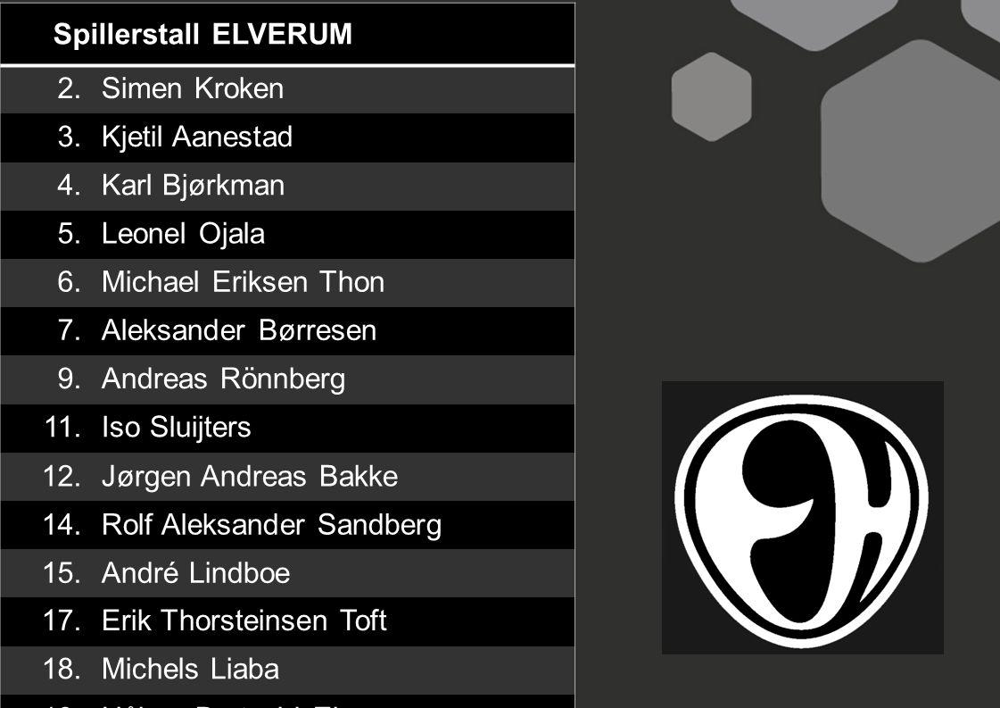 Spillerstall ELVERUM 2. Simen Kroken. 3. Kjetil Aanestad. 4. Karl Bjørkman. 5. Leonel Ojala.