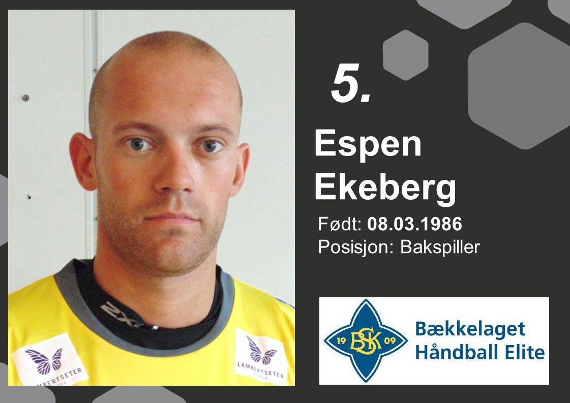 5. Espen Ekeberg Født: 08.03.1986 Posisjon: Bakspiller