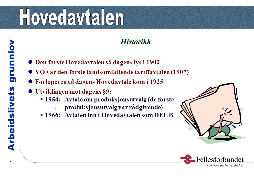 Historikk Den første Hovedavtalen så dagens lys i 1902