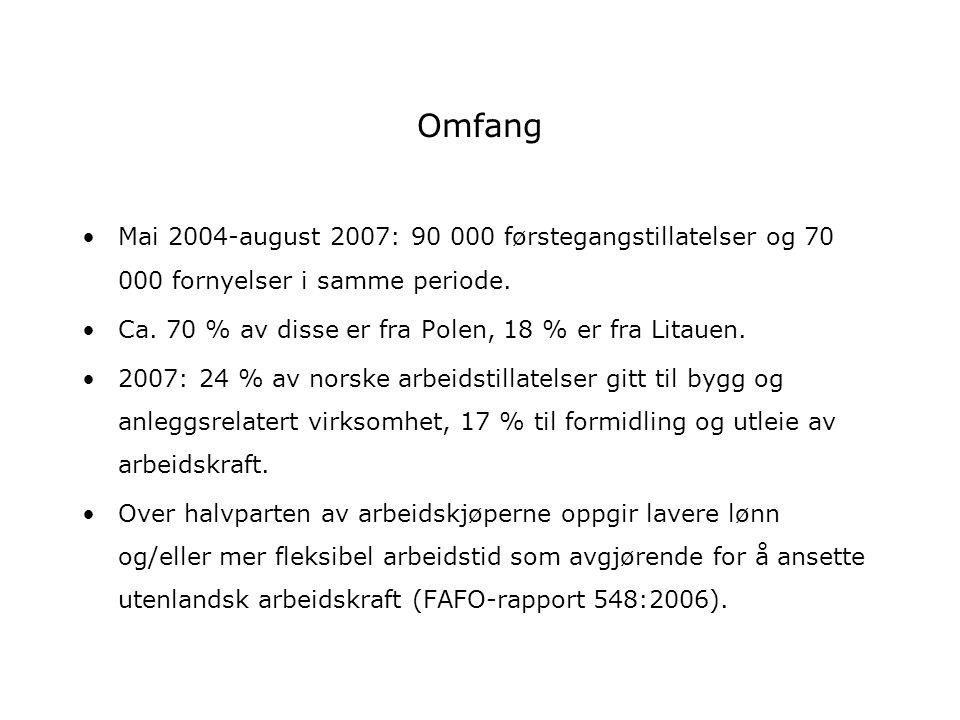 Omfang Mai 2004-august 2007: 90 000 førstegangstillatelser og 70 000 fornyelser i samme periode.