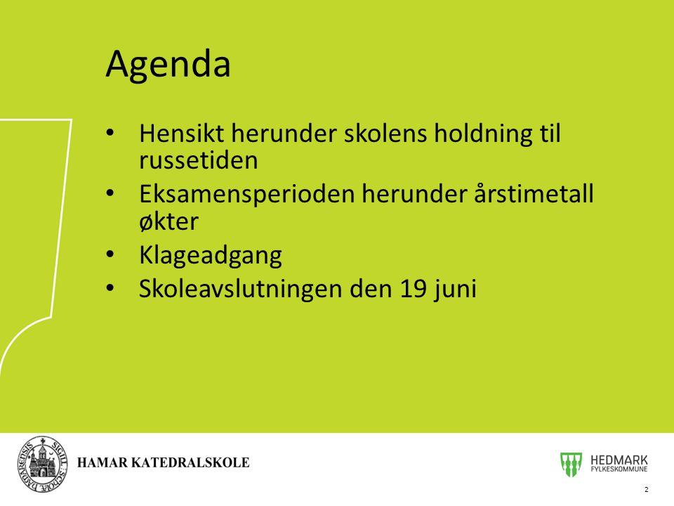 Agenda Hensikt herunder skolens holdning til russetiden
