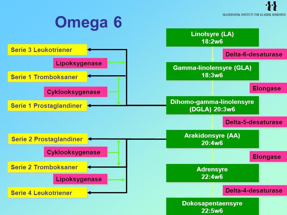 Gamma-linolensyre (GLA) Dihomo-gamma-linolensyre (DGLA) 20:3w6