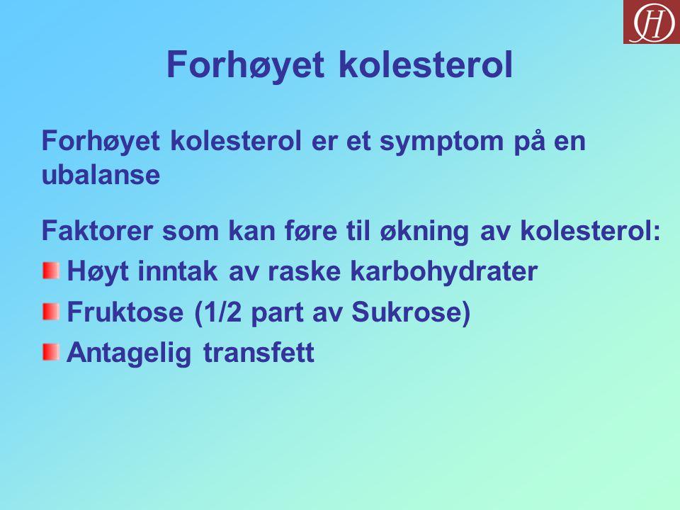 Forhøyet kolesterol Forhøyet kolesterol er et symptom på en ubalanse