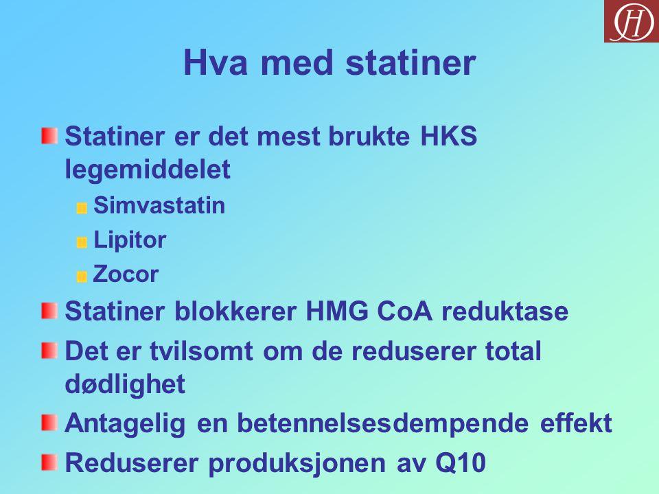 Hva med statiner Statiner er det mest brukte HKS legemiddelet