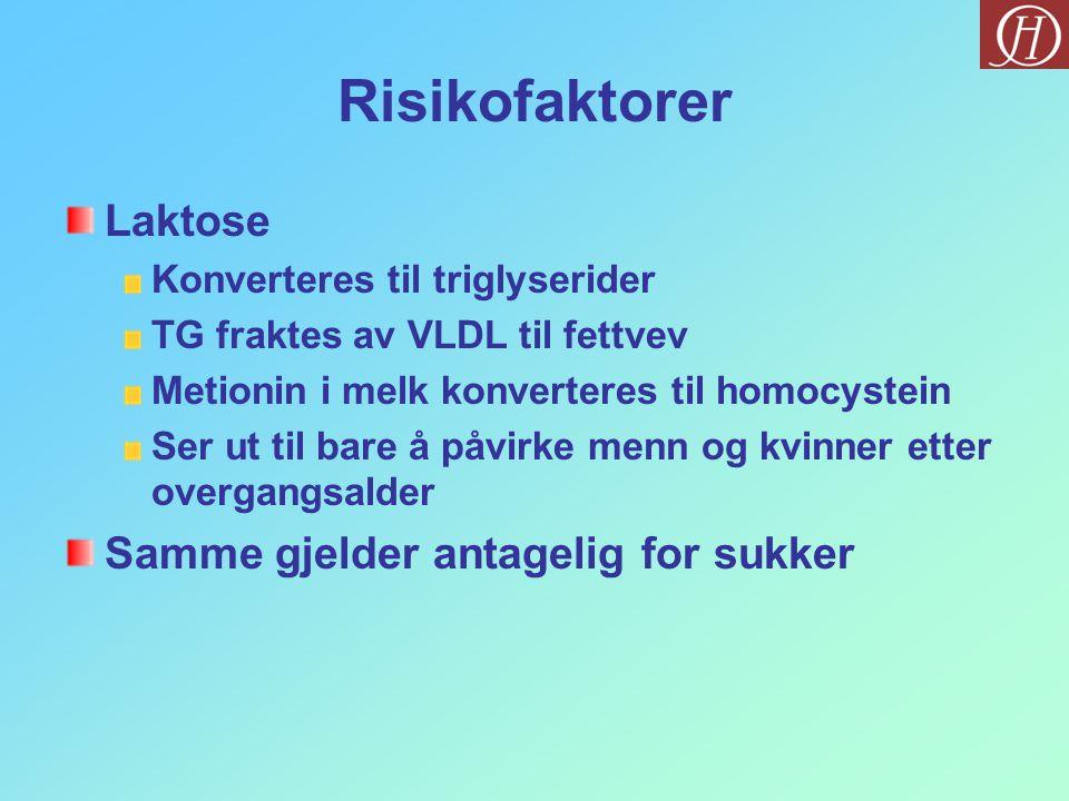 Risikofaktorer Laktose Samme gjelder antagelig for sukker