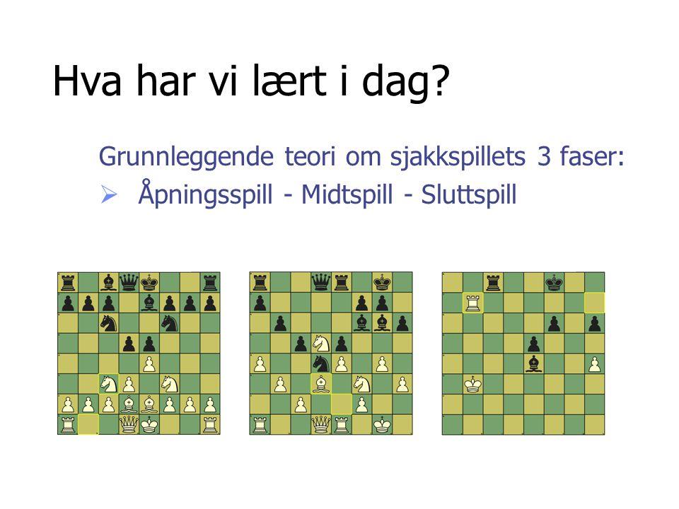 Hva har vi lært i dag Grunnleggende teori om sjakkspillets 3 faser: