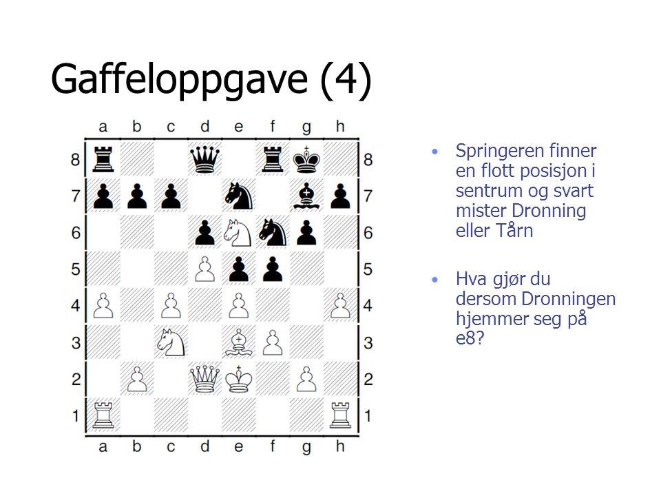 Gaffeloppgave (4) Springeren finner en flott posisjon i sentrum og svart mister Dronning eller Tårn.