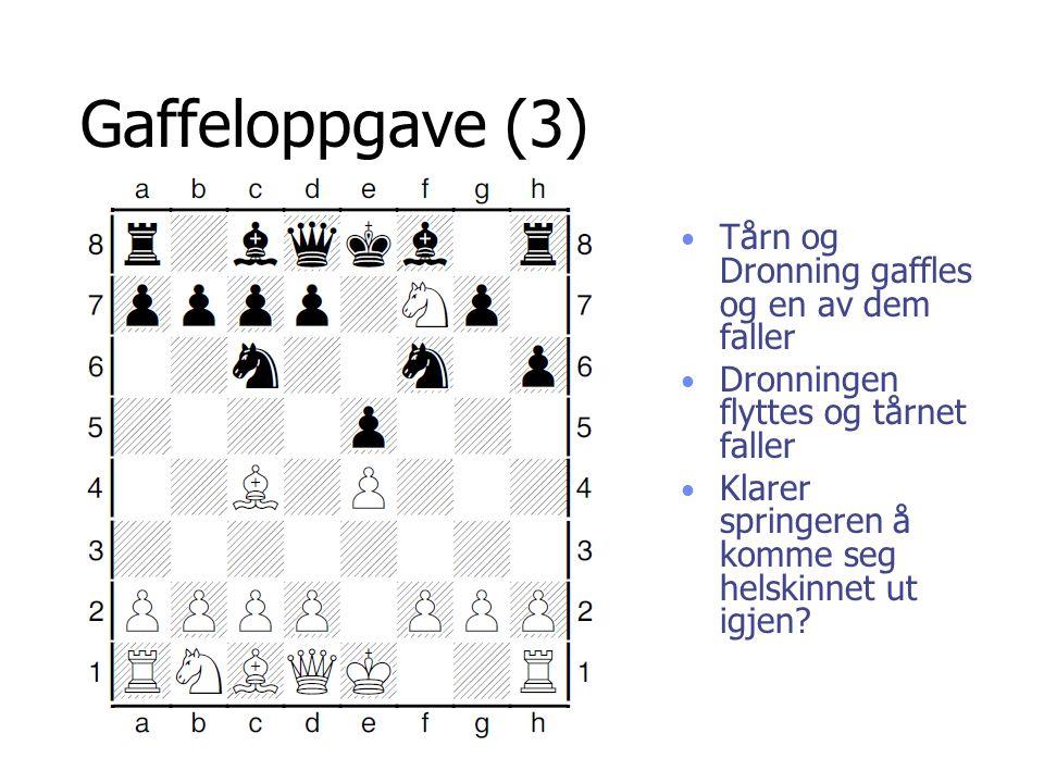 Gaffeloppgave (3) Tårn og Dronning gaffles og en av dem faller
