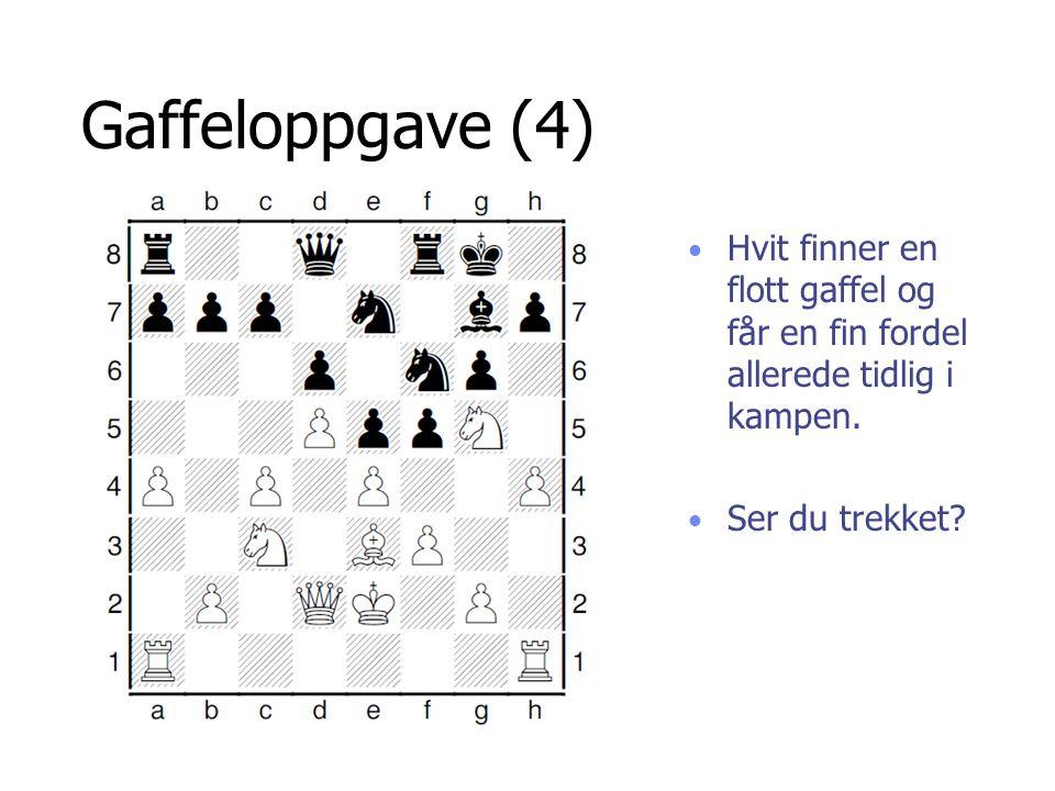Gaffeloppgave (4) Hvit finner en flott gaffel og får en fin fordel allerede tidlig i kampen.