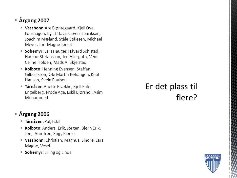 Er det plass til flere Årgang 2007 Årgang 2006