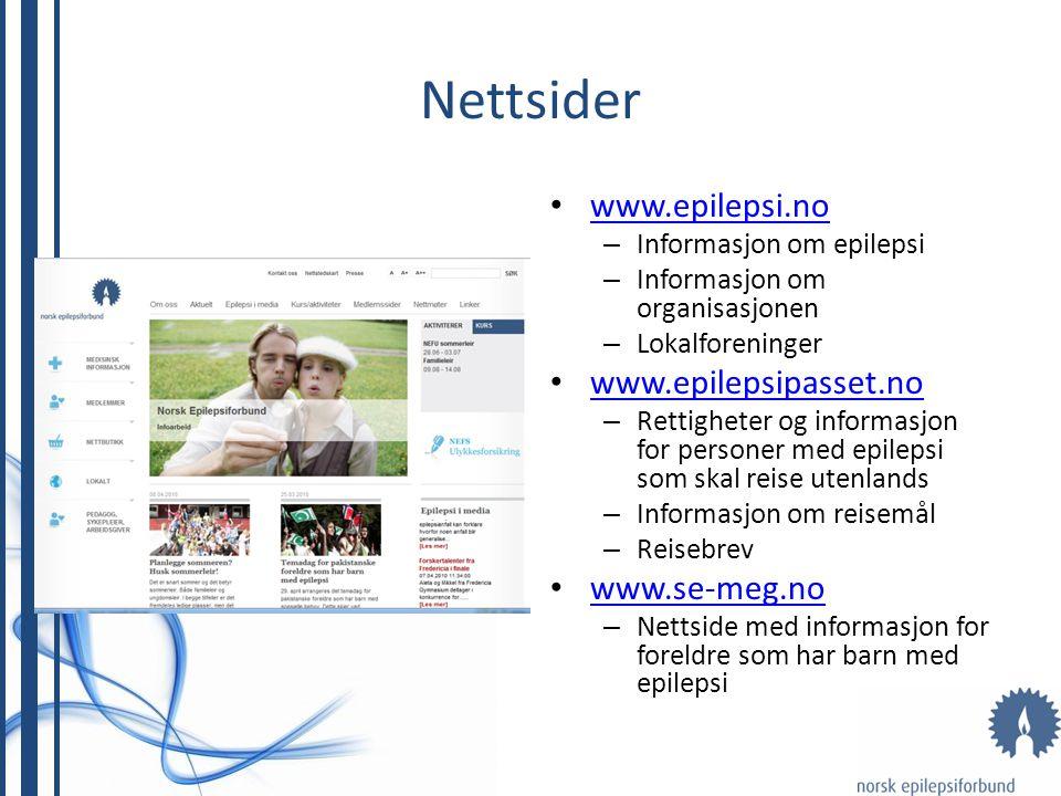 Nettsider www.epilepsi.no www.epilepsipasset.no www.se-meg.no
