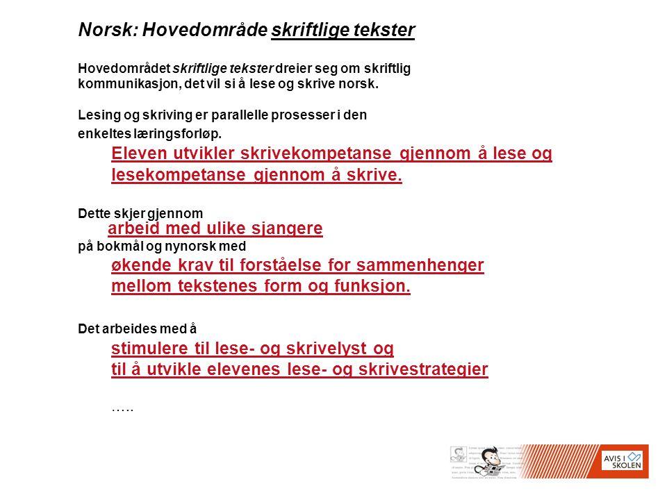 Norsk: Hovedområde skriftlige tekster