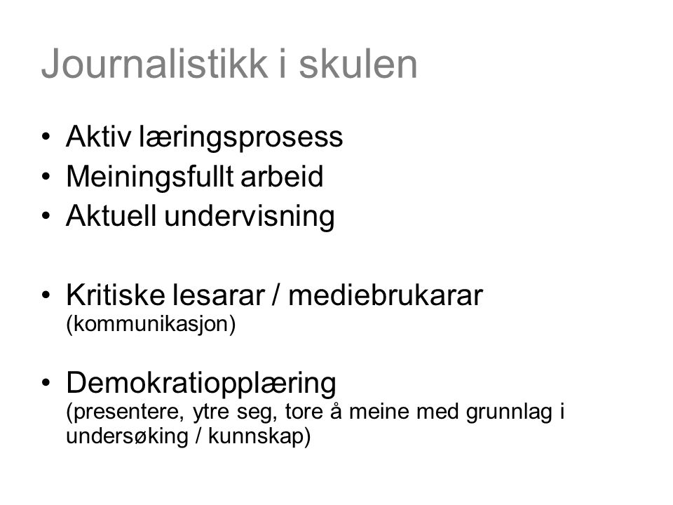 Journalistikk i skulen