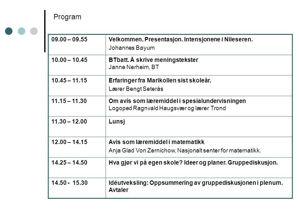 Program 09.00 – 09.55. Velkommen. Presentasjon. Intensjonene i Nileseren. Johannes Bøyum. 10.00 – 10.45.