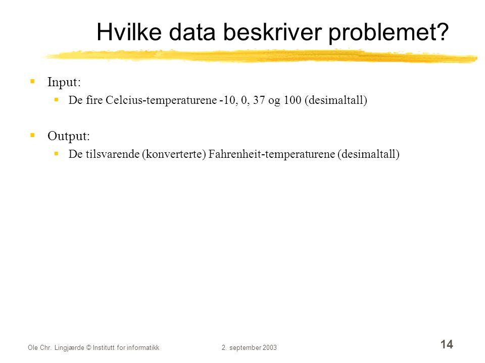 Hvilke data beskriver problemet