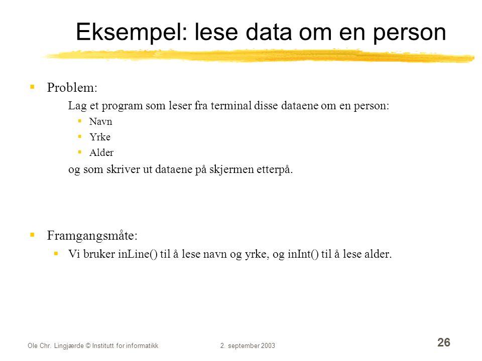 Eksempel: lese data om en person