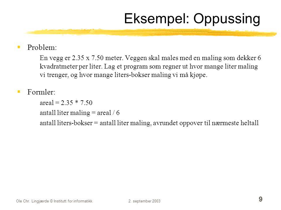 Eksempel: Oppussing Problem: Formler: