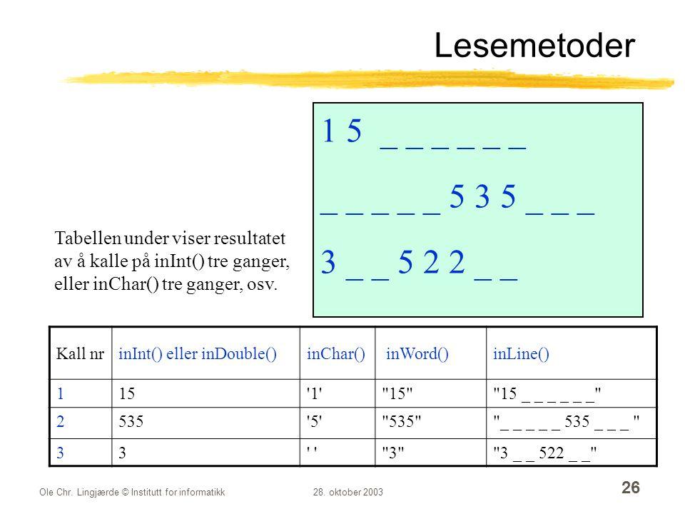 Lesemetoder 1 5 _ _ _ _ _ _ _ _ _ _ _ 5 3 5 _ _ _ 3 _ _ 5 2 2 _ _