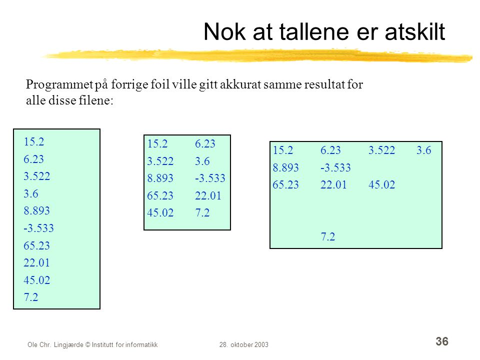 Nok at tallene er atskilt