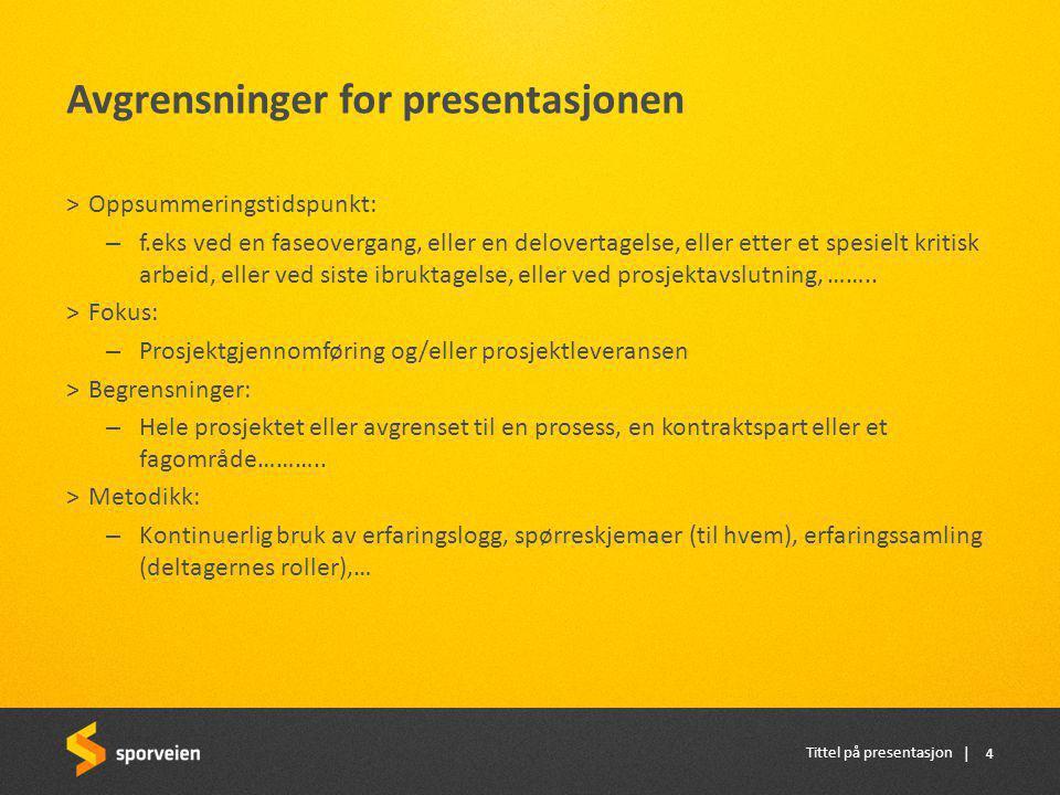 Avgrensninger for presentasjonen