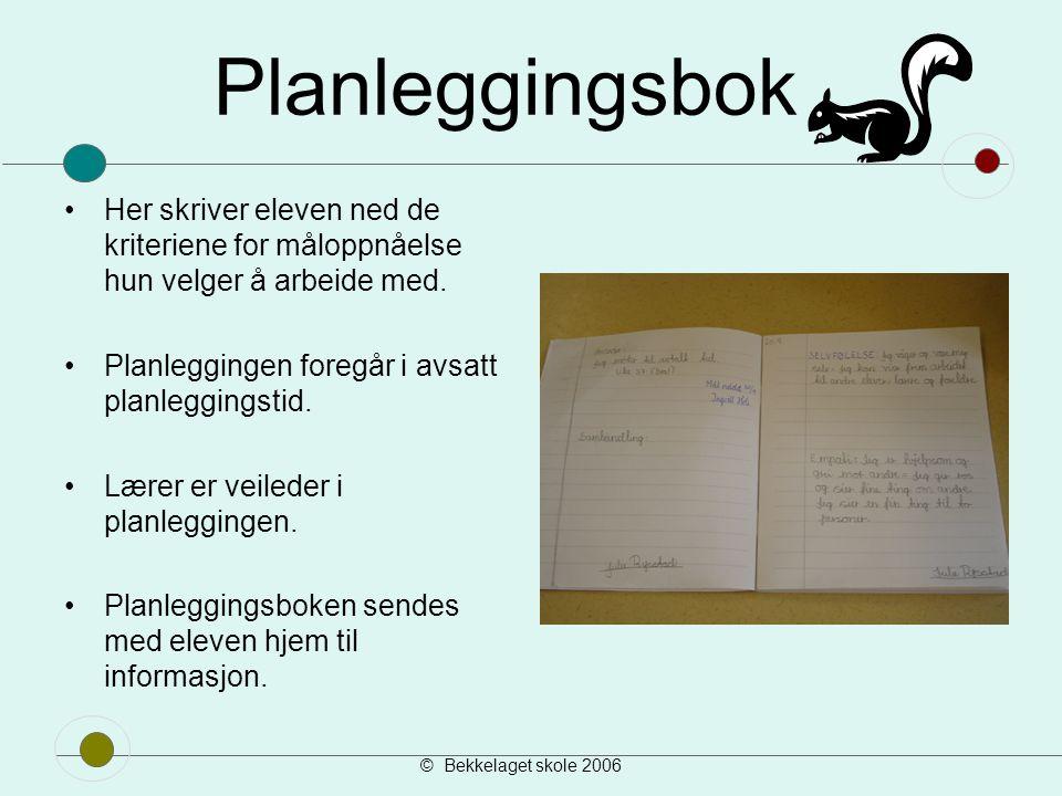 Planleggingsbok Her skriver eleven ned de kriteriene for måloppnåelse hun velger å arbeide med. Planleggingen foregår i avsatt planleggingstid.