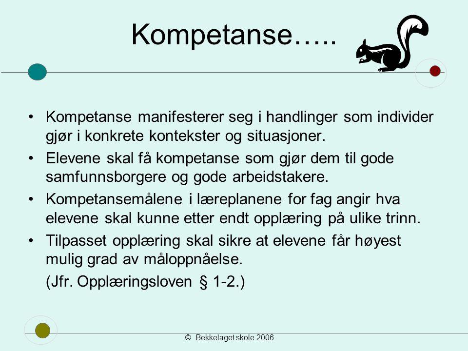 Kompetanse….. Kompetanse manifesterer seg i handlinger som individer gjør i konkrete kontekster og situasjoner.