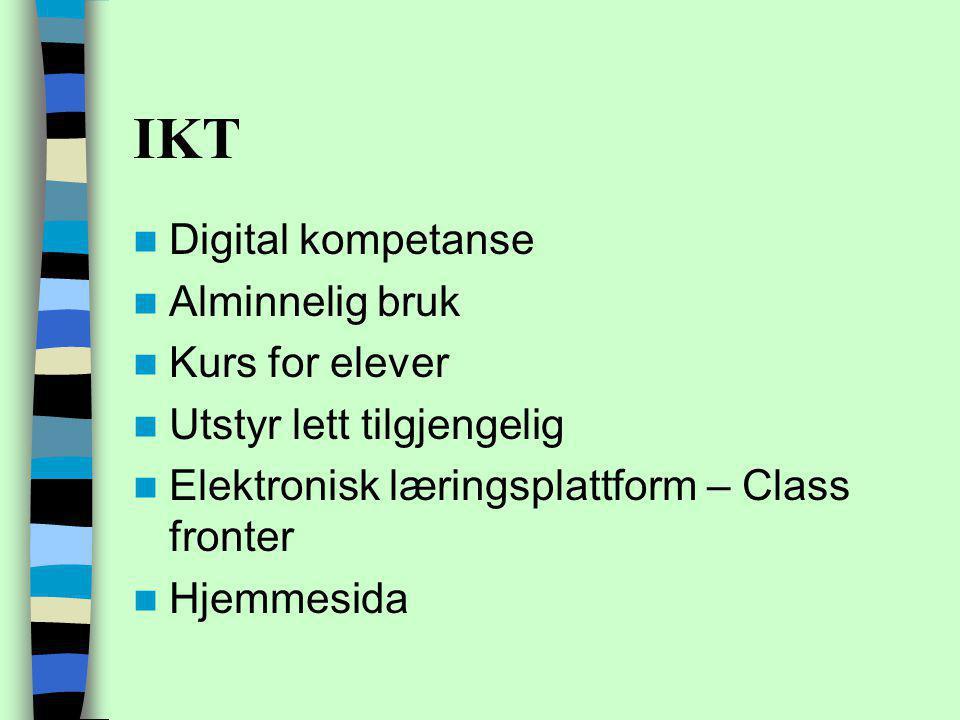 IKT Digital kompetanse Alminnelig bruk Kurs for elever