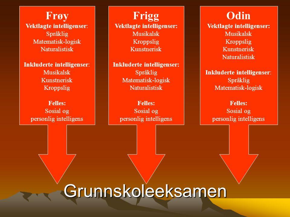 Grunnskoleeksamen Frøy Frigg Odin Vektlagte intelligenser: Språklig
