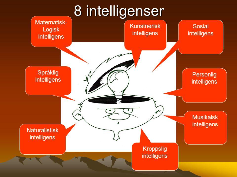 8 intelligenser Matematisk- Logisk intelligens Kunstnerisk intelligens