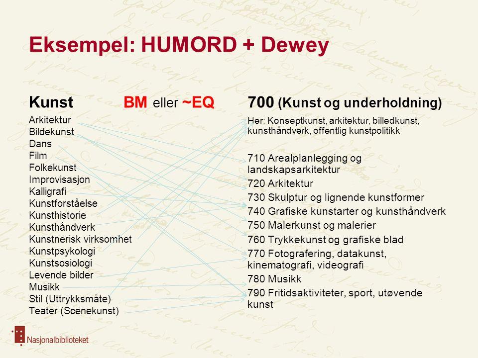 Eksempel: HUMORD + Dewey
