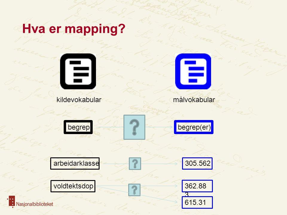 Hva er mapping kildevokabular målvokabular begrep begrep(er)