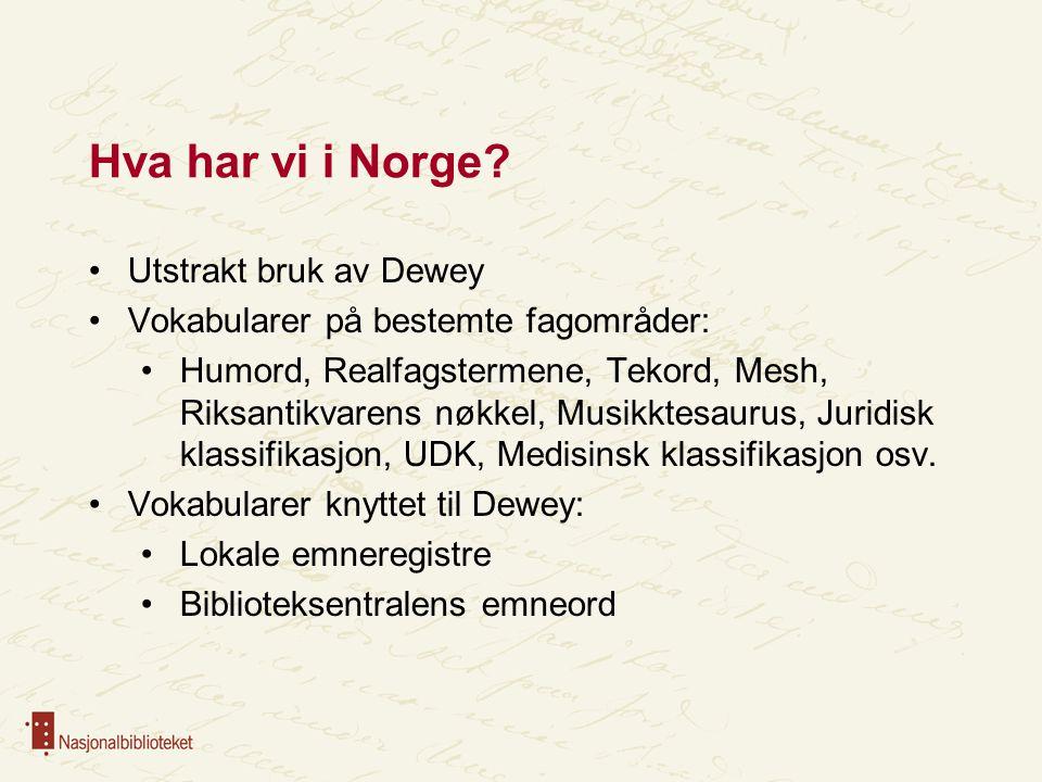 Hva har vi i Norge Utstrakt bruk av Dewey