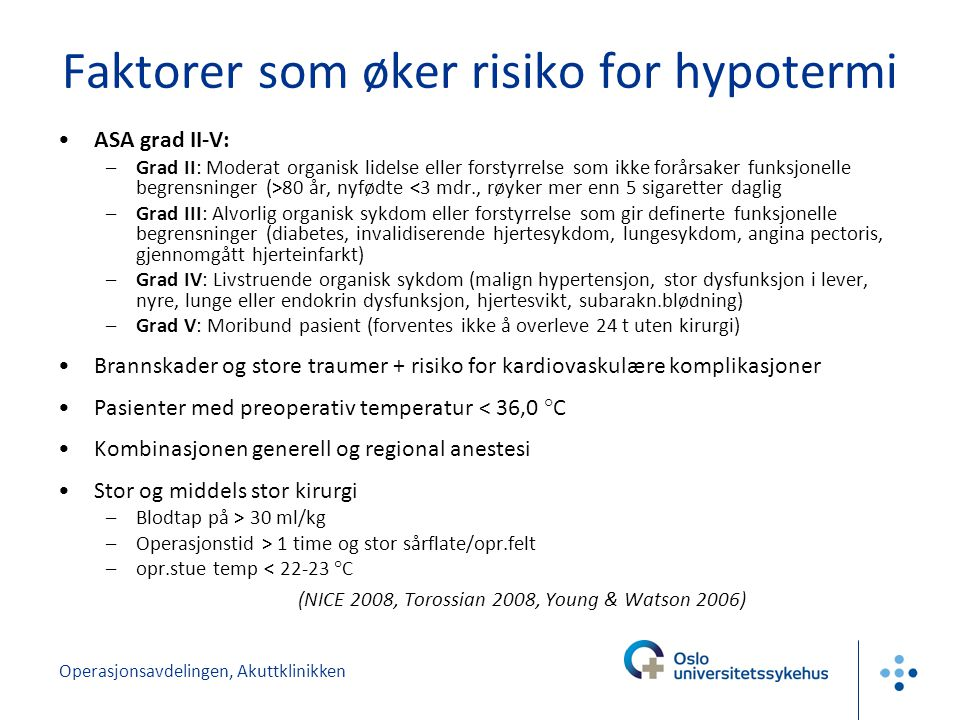 Faktorer som øker risiko for hypotermi