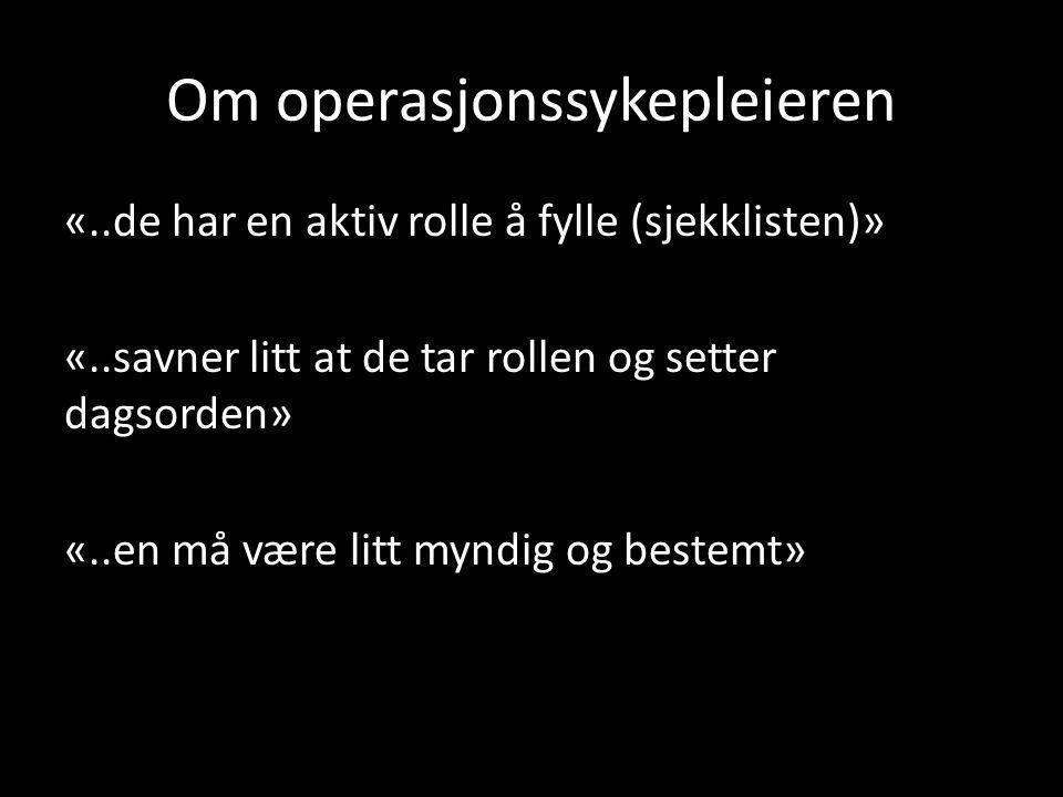 Om operasjonssykepleieren