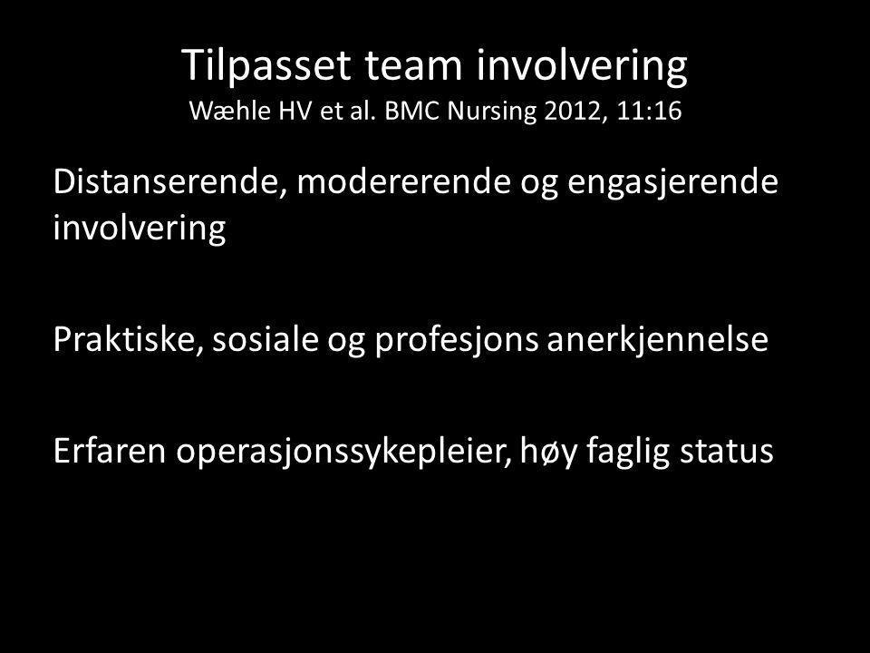 Tilpasset team involvering Wæhle HV et al. BMC Nursing 2012, 11:16