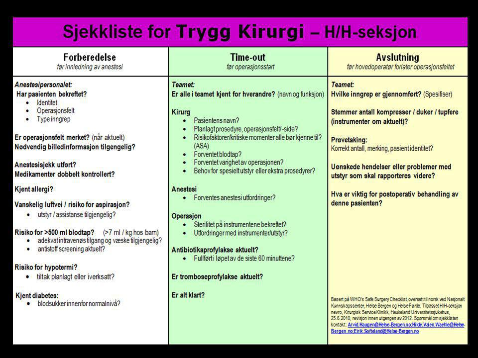 Sjekklisten for Trygg Kirurgi ser per i dag slik ut på en av våre seksjoner.