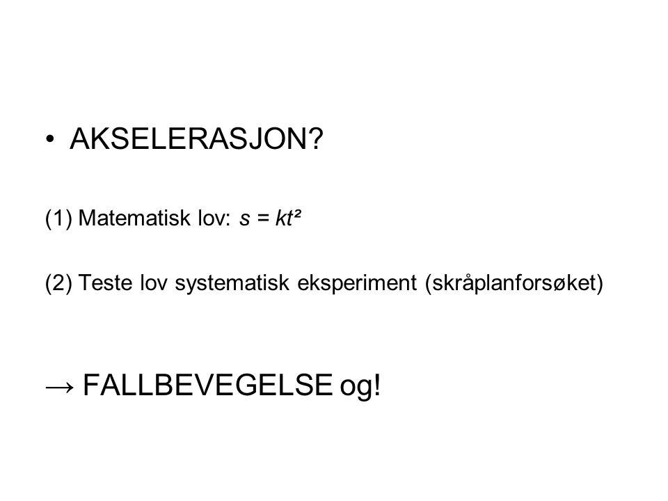 AKSELERASJON → FALLBEVEGELSE og! (1) Matematisk lov: s = kt²