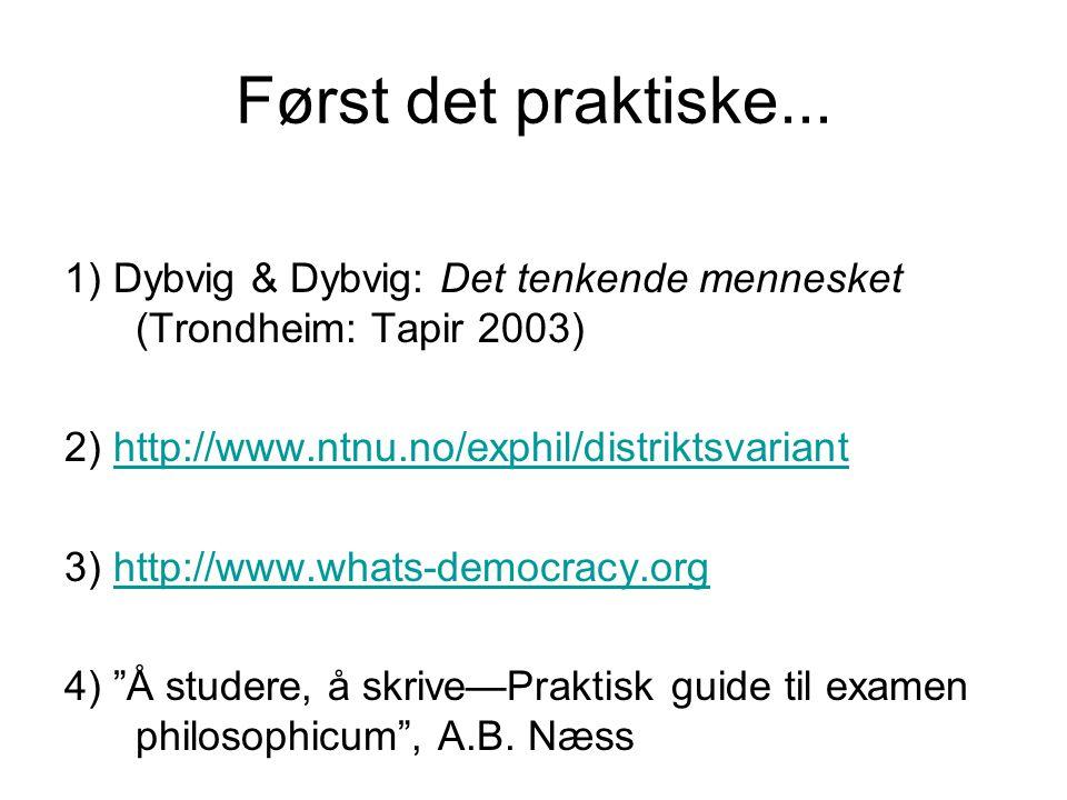 Først det praktiske... 1) Dybvig & Dybvig: Det tenkende mennesket (Trondheim: Tapir 2003) 2) http://www.ntnu.no/exphil/distriktsvariant.