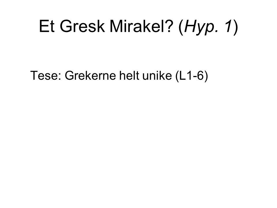 Et Gresk Mirakel (Hyp. 1) Tese: Grekerne helt unike (L1-6)