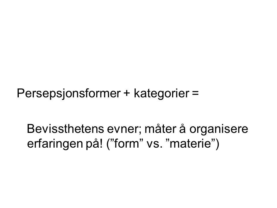 Persepsjonsformer + kategorier =