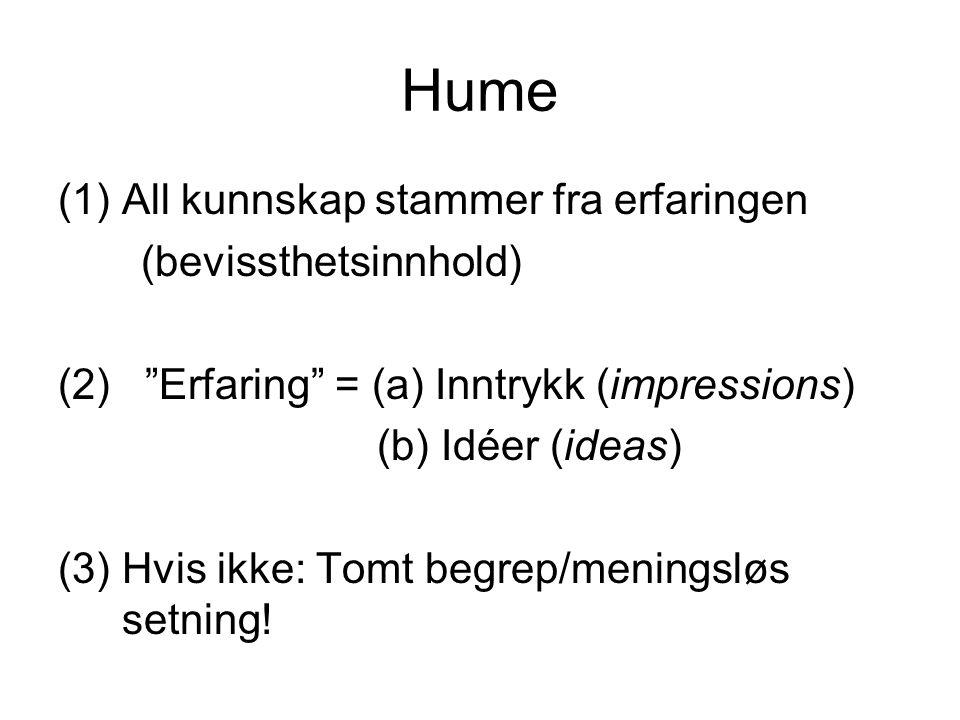 Hume All kunnskap stammer fra erfaringen (bevissthetsinnhold)