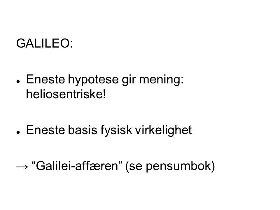 GALILEO: Eneste hypotese gir mening: heliosentriske.