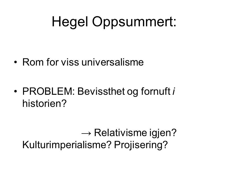 Hegel Oppsummert: Rom for viss universalisme